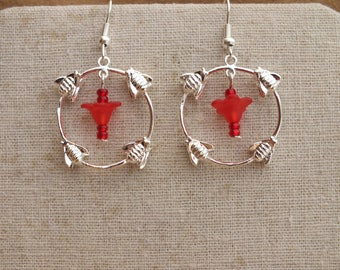 Bumble bee earrings, red flower earrings, silver and red earrings, summer earrings