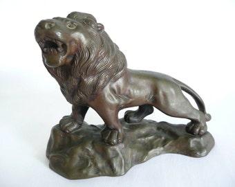 Bronze Lion Statue Roaring Lion Figurine