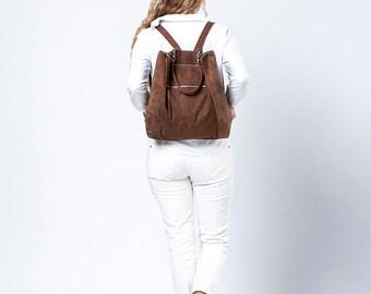 Leather Backpack / Top Handle Tote Bag / Oversize Purse / Unisex Laptop Bag / School Bag / Chocolate Brown Handbag / Shoulder Bag - Vitaly