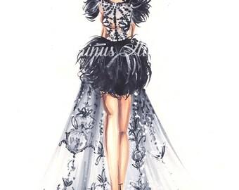 Black art, Black wall art, Fashion wall art, Fashion illustration, Fashion sketch, Fashion print, Art for women, Fashion lover, Modern art