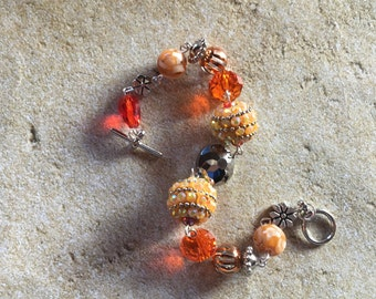 Orange Beaded Bracelet, Glass Beaded Bracelet, Orange and Silver  Bracelet, Gift For Her, Beaded Bracelet