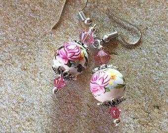 Lampwork Earrings, Flower Earrings, Floral Earrings, Glass Earrings, Gifts for Her, Lampwork, Glass, Earrings, Dangle Earrings