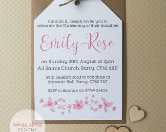 10 Christening / Baptism Invitation, Baby Girl, Floral, Luggage Tag