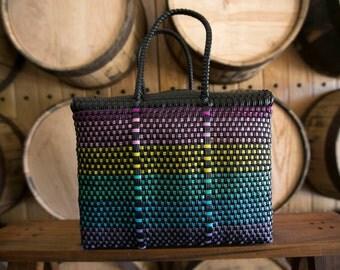 MEDIUM Oaxaca Bag, Woven Plastic Bag, Mexican Bag, Black  Basket