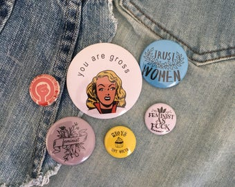 feminist starter pack, pin set, pin back button grab bag