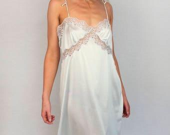 M.I.T.I Lace Slip Floral Sheer Soft Light Silk Thin Strap Midi Sleepwear Nightgown Lingerie Dress