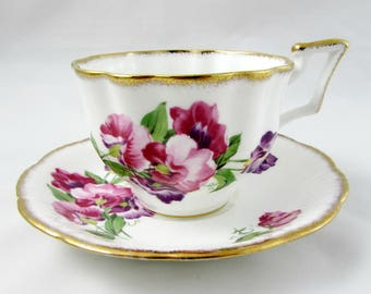 Vintage Tea Cup and Saucer by Salisbury, with Sweet Pea Flowers, English Bone China, Teacup and Saucer