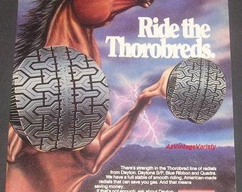 1981 Dayton Radial Tires, Vintage Print Ad, Ride The Thorobreds, Horse Illustration