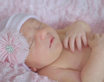 Newborn Hospital Hat with flower Baby Girl Hospital Hat hospital Beanie baby hospital cap with flower - PINK