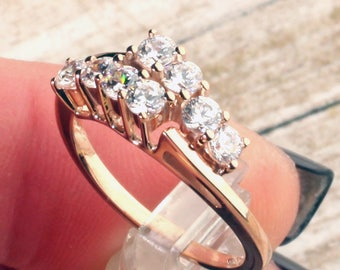 Beautiful 14K Rose Gold CZ Bypass Design Ring, Engagement Ring, Anniversary Ring, Approx 1 CTW