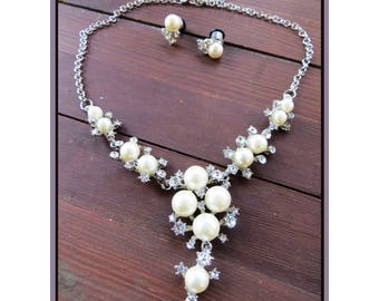 Mid century Atomic northern Starburst Pearls stretched ear plug earrings necklace set gauge - 8g, 6g, 4g, 2g, 0g aka 3mm, 4mm, 5mm, 6mm, 8mm