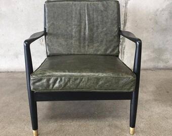 Mid Century Folke Ohlsson for DUX Black & Leather Chair (N2AS7R)