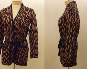 Vintage Claudine Shetland Wool Cardigan Sweater Size M
