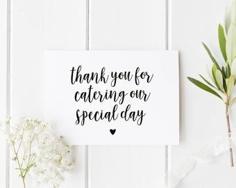 Caterer Thank You Card, Wedding Caterer Card, Card For Caterer, Thank You For Catering Our Wedding, Wedding Caterer Thank You Card, Vendor