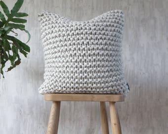 Chunky Knit Cushion Pillow in Light Grey - Alpaca Garter