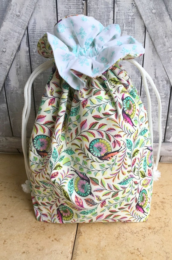 Knitting Project Bag|Tula Pink Slow and Steady Pit Crew Drawstring Project Bag|Crochet Project Bag|Knitting Bag|Crochet Bag|Toad Hollow Bag|