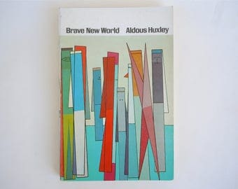 Brave New World Aldous Huxley Vintage Paperback Edition with Mid Century Cover Art by Attilio Salemme