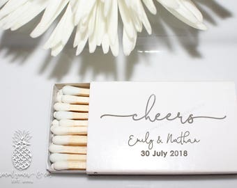 Wedding Cheers Favors   White Matchboxes   Hot Stamped Metallic Foil Party Favors   Bride Groom Gifts   social graces and co.