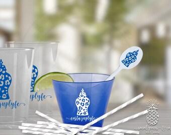 Ginger Jar, Cheetah Print   Customized Bar Cart Cocktail Cups   social graces and Co