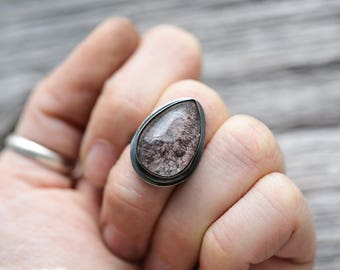 lodolite gemstone ring (size 6). antique sterling silver. nautical oxidized jewelry. scenic garden quartz. (tidal pool ring.)