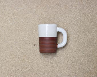 White ceramic Mug with Chunky handle | One-off cup Handmade in Manchester, England | READY TO SHIP
