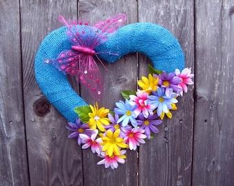 Beautiful Blue Heart ~ Wreath ~ Home Decor ~ Rustic ~ Blue Ribbon Burlap ~ Pink Butterfly ~ Silk flowers ~