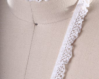 2 Yards Ultra Dainty White Cluny Lace Ruffle/ Tiny Ruffle Lace/ Cotton Ruffle Trimming/ Crotched Ruffle Lace/ White Lace Trim for Lingerie