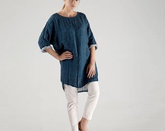 Blue Linen Tunic / Maxi Loose Linen Tunic / Long Linen Tunic / Loose Fitting Linen Tunic / Linen Tunics for Women