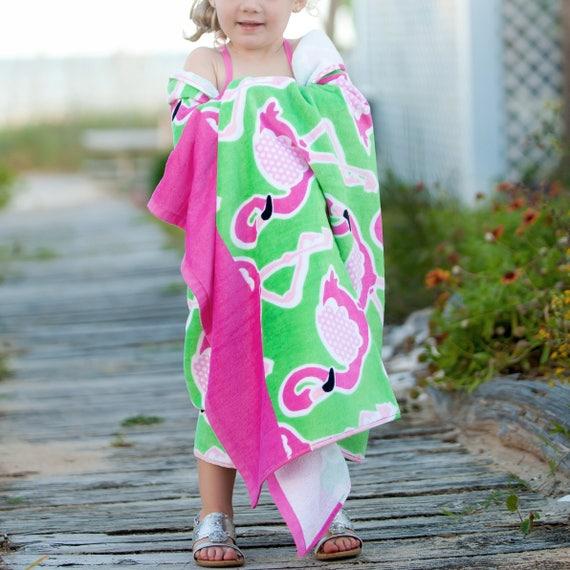 Monogrammed Beach Towel Personalized Pink Flamingo Beach Towel Bridesmaids Gifts Summer Weddings Beach Weddings Highway12Designs