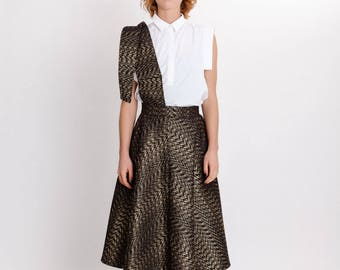 Brocade gold elegant skirt / High waist with pocket midi skirt / Unique woman's special occasion skirt / Fasada 17181