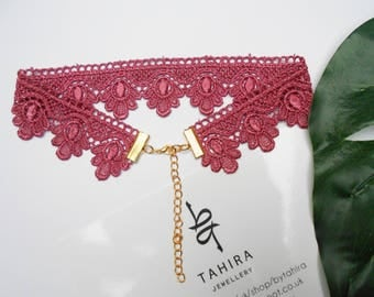 Pink embroidered Lace  choker necklace