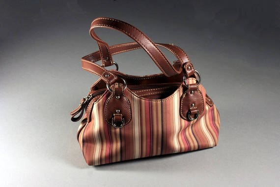 Striped Handbag, Etienne Aigner Handbag, Purse, Designer Bag, Inside Zipper, Faux Leather