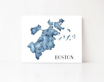 Boston Map, Boston Massachusetts, Boston Wall Art, Boston City Map, Boston Map Art, Watercolor Map, Boston Map Print, Boston Art Boston Gift
