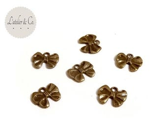 10 charms 12x10mm brass bow / beauty B03