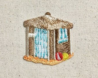 Tiki Hut - Beach Balls - Tropical/Surf - Iron on Applique - Embroidered Patch - 1126839-A
