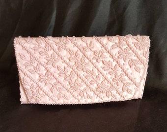 Vintage Pink Beaded Evening Clutch Handbag, Purse