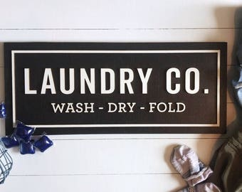 Laundry Co - Wood Sign - Laundry Room Sign - Farmhouse Decor - Rustic Decor - Fixer Upper Style