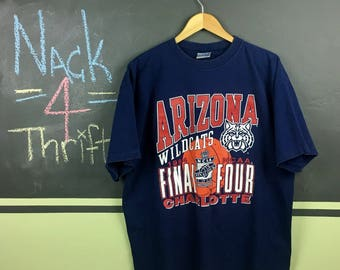 Vintage 1994 University of Arizona NCAA Final Four Basketball Tournament in Charolette NC U of A Wildcats Navy Blue Size XL T-Shirt