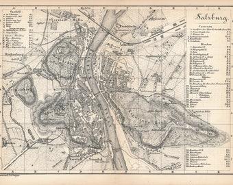 1873 Salzburg Austria Antique Map