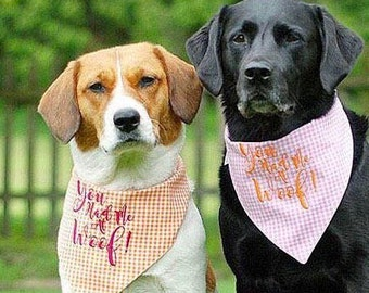 You Had Me At Woof! Pink Gingham Bandana || Reversible Dog Bones Southern Classic Tie Pet Scarf || Puppy Gift by Three Spoiled Dogs