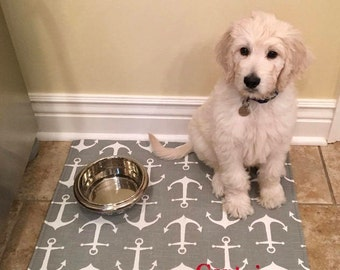Personalized Gray Anchors Pet Placemat || Nautical Food+Water Bowl Mat  || Puppy Feeding Station by Three Spoiled Dogs