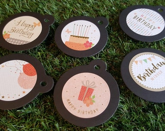 Round Happy Birthday Gift Tags with Bakers Twine 8pcs  - Black