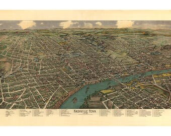 Bird's-Eye View of Nashville Tennessee in the 1880's - Historic Americana - Music City Tennessee - Old Maps and Prints - Southern Wall Decor