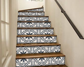 "Stair Riser Stickers - Removable Stair Riser Tile Decals - Agrigento Pack of 6 in Ink Blue - Peel & Stick Stair Riser Deco Strips - 48"" long"