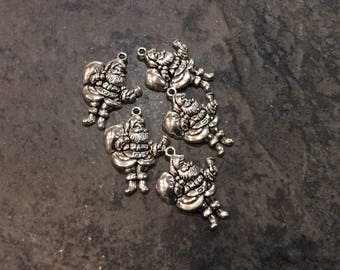 Santa Claus Charms Package of 5 Charms Christmas Charms Perfect for Adjustable Bangle  Bracelets beautifully detailed