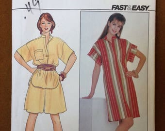 Butterick 4443 - 1980s Big Shirt or Dress with Stand Collar and Dropped Shoulder and Culottes - Size 12 14 16