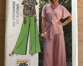Simplicity 5574 - 1970s Wrap Front Top with Flutter Sleeves and Very Wide Legged Pants - Size 14 Bust 36
