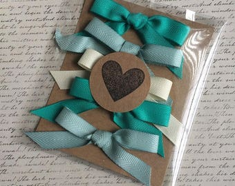 Teal & Cream Twill Tape Bows Pkg of 5 Bows/Packaging·Gift Packaging·Ribbon