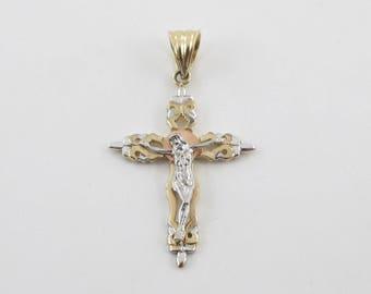 14K Yellow Gold Cross Pendant, 14k White Gold Cross, 14k  Rose Gold Cross