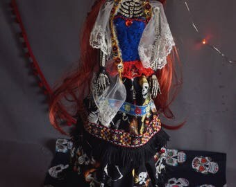 Day of the Dead art doll: Dolores. Mexican Catrina. Articulated doll, skeleton, sugar skull.